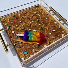 "Load image into Gallery viewer, Limited Edition Resin Art - Lucite Pill Tray with Popsicle Sculpture (Marbled Gold with ""Rainbow Splat"" Pop)"