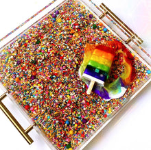 "Load image into Gallery viewer, Limited Edition Resin Art - Lucite Tray with Popsicle Sculpture (Sprinkle Tray with a ""Rainbow Splat"" Pop)"