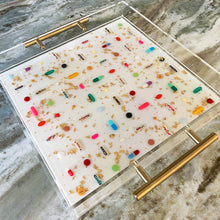 "Load image into Gallery viewer, 12x12"" clear lucite tray with THE NEW *PILL GRID* sparkling pearl white base, gold handles, gold leaf"