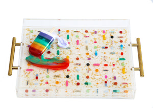 Limited Edition Collector's Item - Resin Art - Lucite Pill Tray with Popsicle Sculpture (Shimmer White Serving Tray with Rainbow POP)