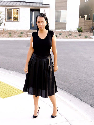 Faux Real Spin Around Leather Skirt