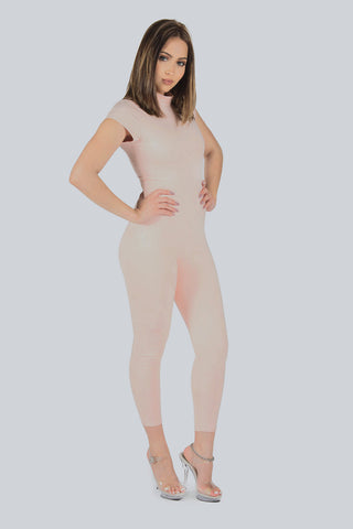 Don't Be Catty Suede Unitard - Blush