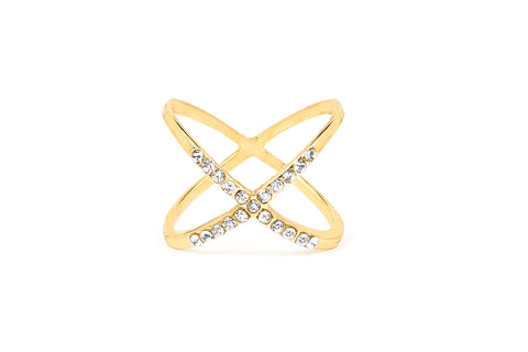 Gold Dainty Crystal X Midi Ring