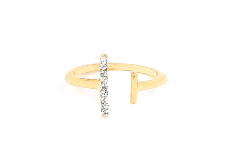 Gold Crystal DainT Midi Ring