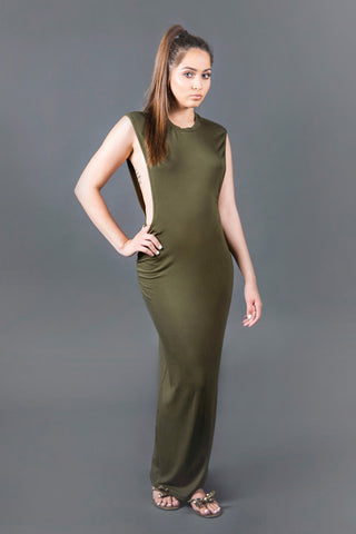 Peek A Boob Maxi Dress - Olive