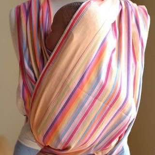 Toto Wraps: Orange, pink, lavender, turquoise striped (4.6 Meters)