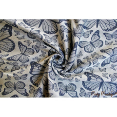 BabyMonkey, Butterfly Poppy woven wrap baby carrier. A beautiful blue shade of butterflies.