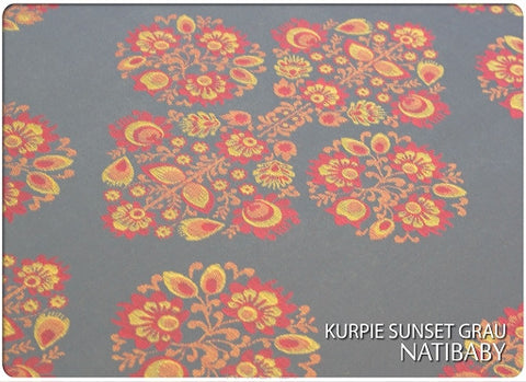 Archive: Natibaby Kurpie Sunset Grau (100% Cotton)  Medium Ring Sling (2.0 Meters) Gathered Shoulder
