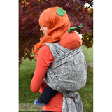 Baby Monkey King of Pumpkins Licorice woven wrap baby carrier. Haunted houses, bats, owls, ghosts and more!