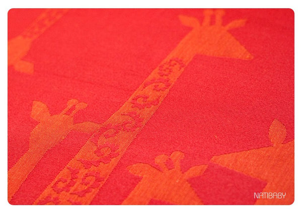 Natibaby Red Orange Giraffes (Linen Blend)