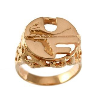 Retro Pell Logo 14K Gold Ring