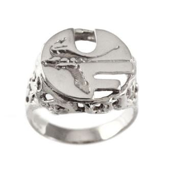 Retro Pell Logo Sterling Silver Ring - Jewelry Works