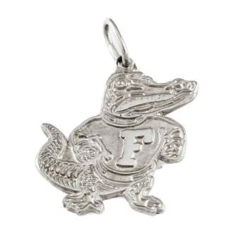 "3/4"" Sterling Silver Classic Fighting Albert Gator Pendant"