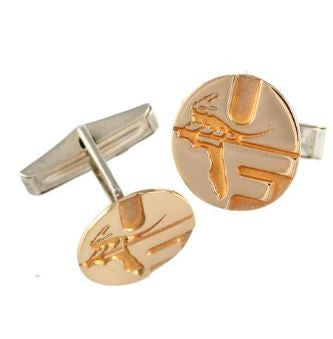 "5/8"" 14K Solid Gold Retro Style Pell Logo University of Florida Cuff Links - Jewelry Works"