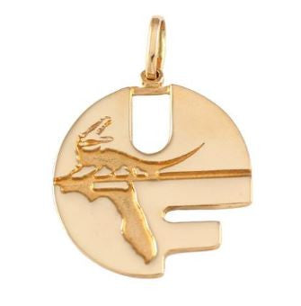 "1"" 14kt Gold UF Pell Logo Charm Pendant - Jewelry Works"