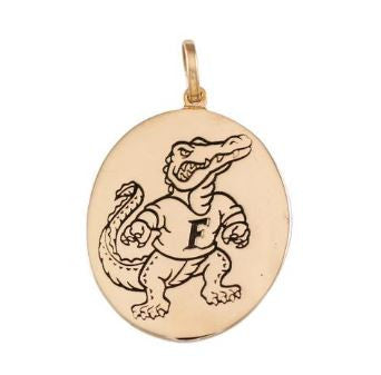 "1 1/8"" Albert Fighting Gator Oval Disk Logo 14K Gold Pendant Charm - Jewelry Works"