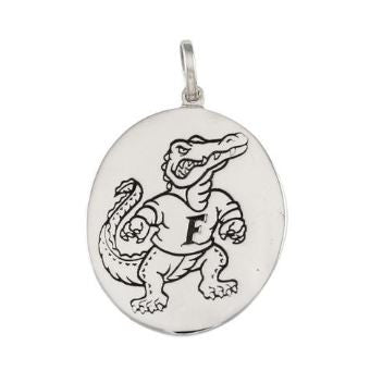 "1 1/4"" Albert Fighting Gator Oval Disk Logo Sterling Silver Pendant Charm - Jewelry Works"