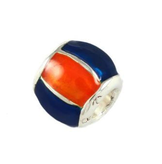 Gator Bead Orange and Blue Enameled Barrel Bead