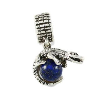 Gator Bead Sterling Silver Gator Wrapped Around Lapis Blue Bead - Jewelry Works