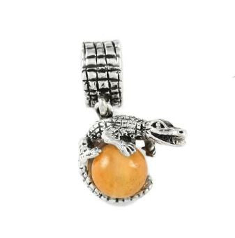 Gator Bead Gator Wrapped Around Orange Carnelian Bead with Sterling Silver