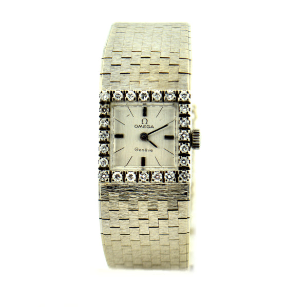 Vintage 18 Karat White Gold Omega Geneve Ladies Diamond Watch - Jewelry Works