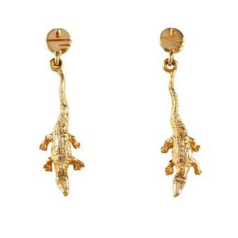 "1 1/4"" 14K Gold Albert Gator Dangle Earrings with Pell Logo Post - Jewelry Works"