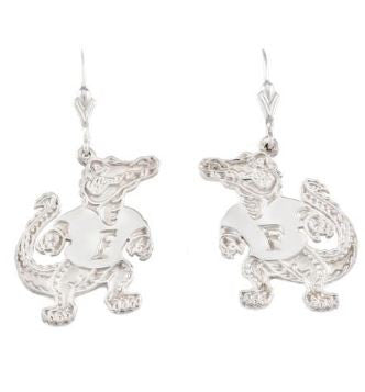 "1 1/4"" Sterling Silver Albert Gator Dangle Earrings"