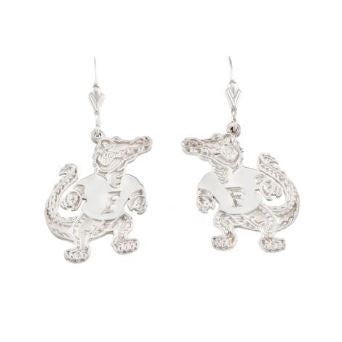 "1"" Sterling Silver Albert Gator Dangle Earrings - Jewelry Works"