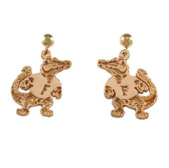 "3/4"" 14K Gold Albert Gator Dangle Post Earrings"