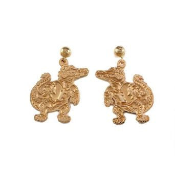 "3/4"" 14K Gold Albert Gator Dangle Earrings Satin Finish"