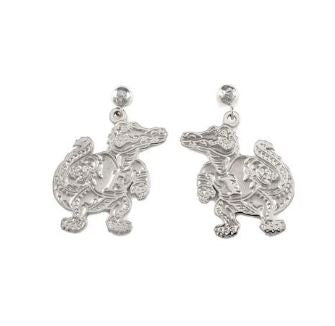 "3/4"" Sterling Silver Albert Gator Dangle Earrings Satin Finish - Jewelry Works"