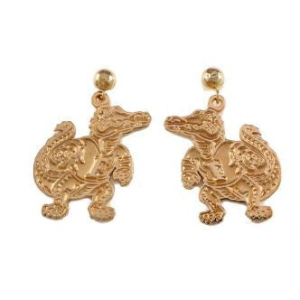 "7/8"" 14K Gold Albert Gator Dangle Earrings Satin Finish"
