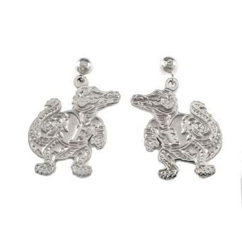 "7/8"" Sterling Silver Albert Gator Dangle Earrings Satin Finish"