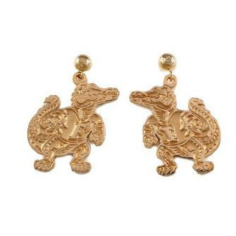 "1"" 14K Gold Albert Gator Dangle Earrings Satin Finish"