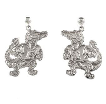 "1"" Sterling Silver Albert Gator Dangle Earrings Satin Finish - Jewelry Works"