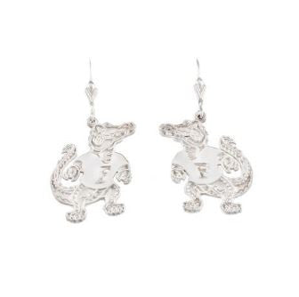 "3/4"" Sterling Silver Albert Gator Dangle Earrings"