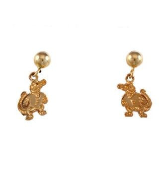 "3/8"" 14K Gold Albert Gator Dangle Post Earrings"
