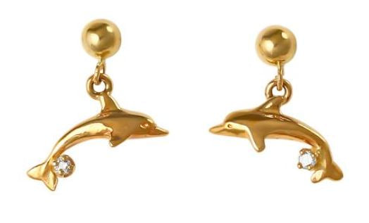 30749D - DANGLING DOLPHIN POST EARRINGS WITH DIAMOND - Jewelry Works