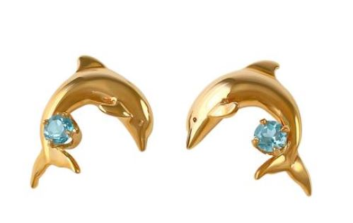 30751BT - DOLPHIN EARRINGS WITH BLUE TOPAZ - Jewelry Works