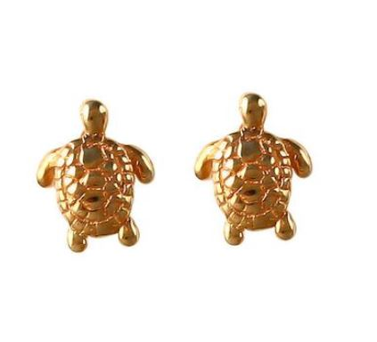 "30805 - 3/8"" GREEN SEA TURTLE POST EARRINGS - Jewelry Works"
