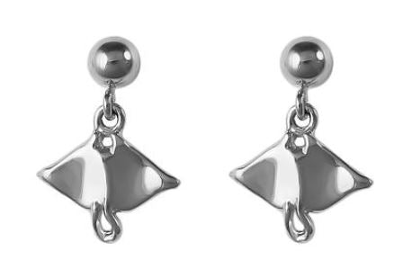 30807 - DANGLING MANTA RAY POST EARRINGS - Jewelry Works
