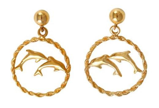 30821 - DOUBLE DOLPHIN EARRINGS IN ROPE FRAMES