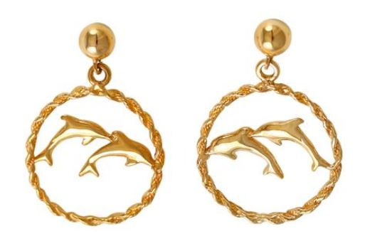 30821 - DOUBLE DOLPHIN EARRINGS IN ROPE FRAMES - Jewelry Works