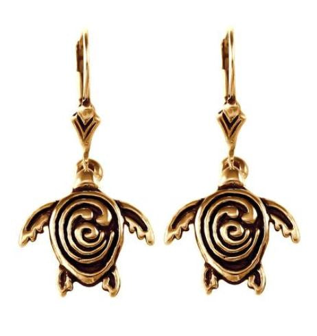 30856 - BRONZE STC LOGO SEA TURTLE EARRINGS