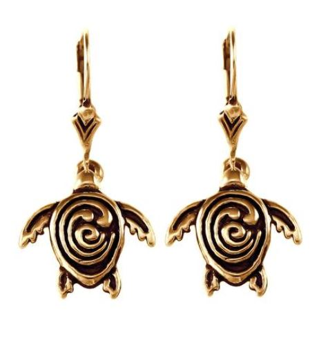 30856 - BRONZE STC LOGO SEA TURTLE EARRINGS - Jewelry Works