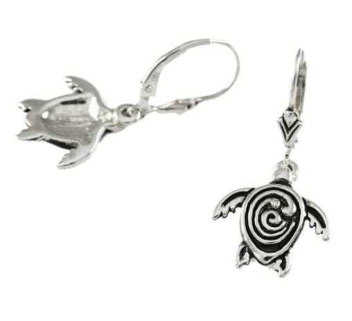 30856A - GOLD OR SILVER STC LOGO SEA TURTLE EARRINGS