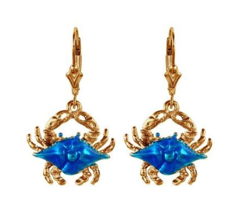 30905 - ENAMELED BLUE CRAB EARRINGS - Jewelry Works