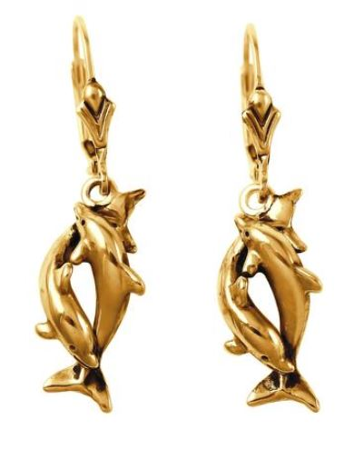 30916 - TWISTING DOLPHIN LEVER-BACK EARRINGS - Jewelry Works