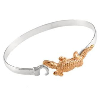 "1 3/4"" 14K Gold Alligator on Sterling Silver Hook Bracelet"
