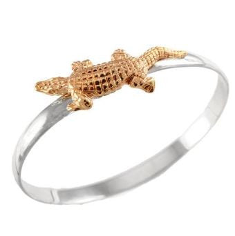 "1 3/4"" 14K Gold Alligator on Sterling Silver Hook Bracelet - Jewelry Works"